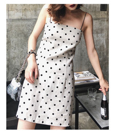 sexy cotton linen dresses Canada - Sexy Casual Dresses Loose Boho Dress Women Cotton and linen skirt dot black white braces skirt Summer Fashion sexy Strapless Mini Dress