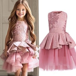 pink wedding dresses for children Canada - Custom Made Flower Girl Dresses for Wedding pink Lace Princess TUtu Skirt Ruffled 2017 Ball Gown Jewel Vintage Child First Communion Dress45