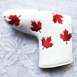 Golf Club Head Covers NZ - Canada Flag Red Maple Leaf Embroidery Golf Putter Club Head cover PU Leather L-style Putter Protective Cover