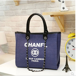 Wholesale 2018 Fashion Shoulder Bags Brand Designer Handbag Hot Sale Women Casual Canvas Shoulder Bag Chains of Large Capacity Bag Colors Hot