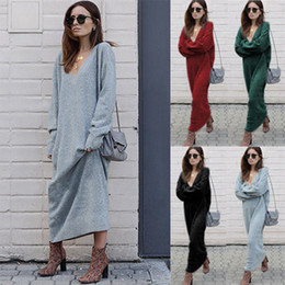 8553102552b0 Discount red maxi sweater dress - V-collar dress long-sleeved winter new  knitting
