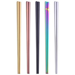 metal square chopsticks UK - High grade 304 stainless steel chopsticks 5 colors square chopsticks flatware home hotel simple style tableware