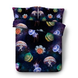 Super Single Beds UK - JF-539 Kids children bed set 4pcs Luxury Galaxy and jellyfish bedding sheets boys girls single full queen super king duvet cover