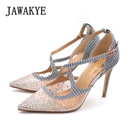 7555914cdd0ea wholesale High Heels Wedding Shoes Woman Cross belt Bling Glitter Sandals  Women Point Toe Mesh Crystal Silver Stiletto Women Pump