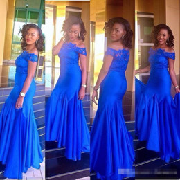 Short Vintage Style Prom Dresses NZ - 2017 Royal Blue Evening Dresses Aso Ebi Style Mermaid Off Shoulder Lace Short Sleeves Prom Party Gowns Plus Size Formal Wear