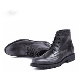17a1f8bd3a5a New Arrival Comfortable High Quality Handmade Lace-Up Pointed Toe Flats  Genuine Leather Oxfords Ankle Boots For Men