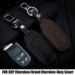 $enCountryForm.capitalKeyWord Australia - Top Genuine leather car 2 3 4 Buttons Smart key shell case bag for JEEP Cherokee Renegade  Dodge Journey Dart Durango Charger