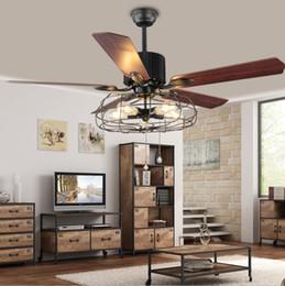 Edison cEiling lighting online shopping - Loft Vintage Ceiling Fan Light E27 Edison Bulbs Pendant Lamps Ceiling Fans Light V V In Wooden Blades Bulbs included