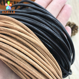 Discount multi cord bracelet - 1 2 3 4 5 6 8mm 100% real Round Leather Cord string lace Natural black coffee color belt jewellery bracelet free shippin