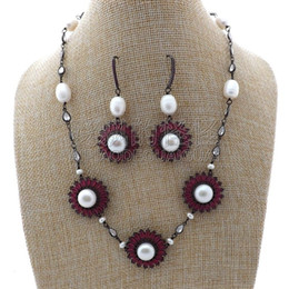 "porcelain earrings NZ - S012611 19"" White Pearl Chain CZ Pave Flower Gunmetal Necklace Earrings Set"