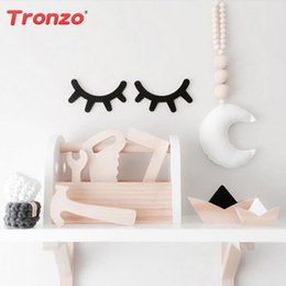 Pink Gold Party Decorations NZ - Tronzo 2pcs Sleepy Eyes Ornament Unicorn Birthday Party Decorations For Kids Pink Wooden Gold Acrylic Eyelashes Bedroom Decor