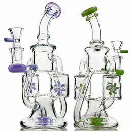 Green bonGs Glass water pipe online shopping - 2019 Unique Glass Bongs Double Recycler Bong Propeller Spinning Perc Oil Dab Rigs Green Purple mm Water Pipes With Heady Glass Bowl