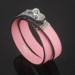 Silver bracelet patternS online shopping - 2018 Titanium steel jewelry cdc double skin cross pattern leather bracelet h circle button palm leather pattern bracelet