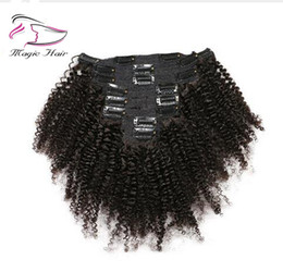 Discount mongolian afro kinky straight hair weave - Evermagic Hair Mongolian Afro Kinky Curly Weave Remy Hair Clip In Human Hair Extensions Natural Color Full Head 8Pcs Set