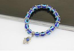 Discount turkey charms - Fashion Turkey Evil Eye Bracelet Resins Beads pendant Hand beaded bracelet strand elastic wristband charm jewelry gifts