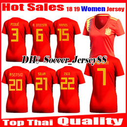 7490f1081 2018 2019 Spain Women World Cup Espana Morata girl lady Soccer Jersey  A.INIESTA FABREGAS RAMOS DIEGO COSTA SILVA ISCO Home jerseys Football
