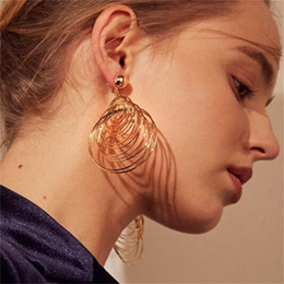 $enCountryForm.capitalKeyWord NZ - Vintage Large Circle Multi Layer Spiral Punk Round Big Hoop Earring Circle Stud earrings for Women Fashion Punk jewelry earrings Pendant Bra