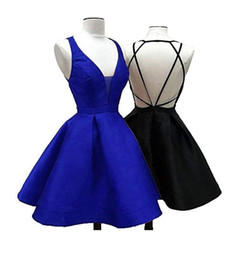 Chinese  2019 Real Photos Short Homecoming Dresses V Neck Corset Back A Line Above Knee Length Satin Party Prom Gowns Vestidos De Fiesta Cheap manufacturers