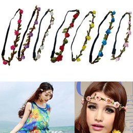 Red Roses For Hair NZ - 2018 Hot Sale Flower Headband Beautiful Rose Flower Headbands For Girls Bohemian Style Wreath Wedding Floral Garland Hair Accessories