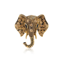 wholesale rhinestone brooches UK - Retro Vintage Elephant Brooch Pin 4.2*3.9cm Cute Animal Rhinestone Crystal Suit Lapel Pin for Women Girls Jewelry Accessories Gift