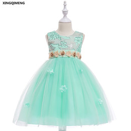 $enCountryForm.capitalKeyWord UK - In Stock Mint Sequined Embroidery Flower Girl Dresses for Weddings 3-10Y Formal Dress for Little Girls Pageant Tulle Ball Gown