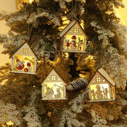 Christmas Ornament For Tree Australia - Mini LED Wooden House Christmas Tree Pendants New Year Decorations For Home Table Ornaments Xmas Tree Hanging Decor navidad 2018