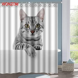 cat shower curtains NZ - Stocked Cat Shower Curtains Bathroom with 12 Hooks Waterproof Accessories for Decor Modern Animal Bath Curtain New Gift