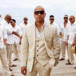 $enCountryForm.capitalKeyWord Canada - Men Suits 2018 Beach Beige Linen Wedding Suits Custom Made Slim Fit Bridegroom Groomsmen Best Men Blazer Casual Tuxedos Prom Party 3Piece