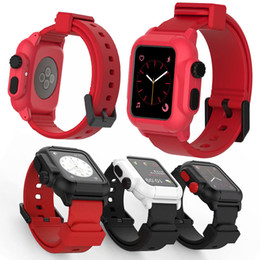 Discount band cases - Luxury IP68 Waterproof Silicone Strap Band 42  38mm Iwatch Sport Swimming Band With Protective Case Series 3 2