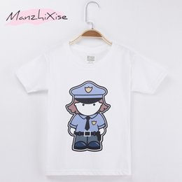 tee baby Canada - 2018 Children T-shirt Police Cartoon Design Cotton Child Shirt Boy Short T Shirts Kids Clothes Baby Girl Tops Tee Free Shipping