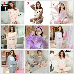 Autumn and winter flannel ladies pajamas long sleeves winter thick coral  fleece cute head home service suit Korean version 729622e0e