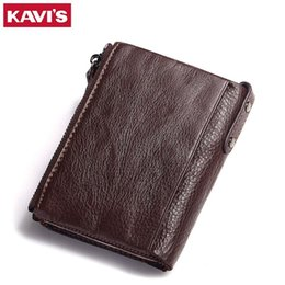 Discount top men wallet brands - Wholesale- KAVIS Brand Leather Men Wallets Top Quality Genuine Leather Coffee Walet Men Card Holder Mini Wallet Men with