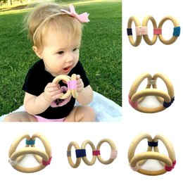Discount teethers - 2018 new 13 colors Infant wood ring Teethers toddler Soothers baby Grab Practice toys Healthy Teethers chain C3398