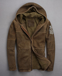 DesigneD hooDeD hooDy online shopping - 108th construction battalion suede sheepskin leather jackets retro armband genuine leather jackets with hoody