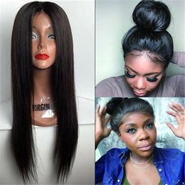 $enCountryForm.capitalKeyWord Australia - Straight Silk Base Lace Front Wigs Adjustable Pre Plucked Full Lace Human Hair Wigs Glueless Wig for Black Women with Baby Hair Natural