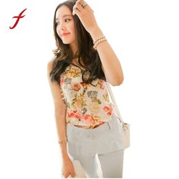 Chinese  Cheap Price!Casual Women Lady Chiffon Tank Tops Summer Flower Print Sleeveless Shirt Blouse Vest drop shipping manufacturers