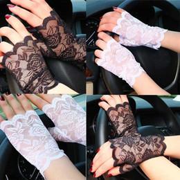 Venta al por mayor de Guantes sin dedos de la protección solar atractiva del cordón de las mujeres de la manera que conducen guantes del partido de Anti-ULTRAVIOLETA