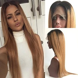 tone hair color lace fronts Australia - Ombre 1b 27# Color Brazilian Human Hair Full Lace Wig Silky Straight Two Tone Lace Front Wig Glueless Wigs 130% density