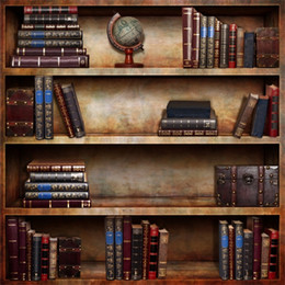 Discount bookshelf backdrop - Laeacco Vintage Wooden Bookshelf Books Scene Photography Backdrops Backdrop Custom Camera Backgrounds For Photo Studio
