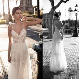 $enCountryForm.capitalKeyWord NZ - Summer Boho 2018 Wedding Dresses Spaghetti Straps Lace Applique Backless Floor Length Bridal Party Gowns For Beach Cheap
