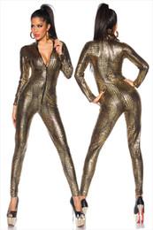 $enCountryForm.capitalKeyWord NZ - Sexy Black Wet Look Snake Jumpsuit PVC Latex Catsuit Nightclub DS Costumes Women Bodysuits Fetish Patent Leather Game Uniforms