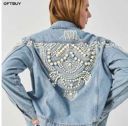 Toptan satış Bahar çiçek boncuk nakış denim ceket kadın ceket gevşek kot bombacı ceket vintage streetwear harajuku inci OFTBUY