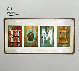 """Plates Gift Europe UK - DL- """"HOME"""" Vintage shabby chic License plate home decoration accessories modern wall art"""