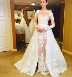 See Through Wedding Dress Crystal Beading Canada - Romantic White Lace See Through Bridal Gowns 2017 Sheer Neck Long Sleeves Overskirt Wedding Dresses Detachable Train Wedding Vestidos