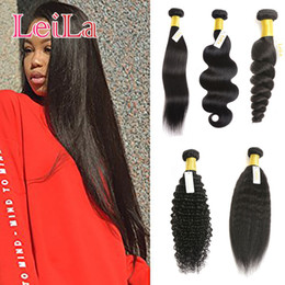 Discount hair extensions Brazilian Malaysian Indian Peruvian Virgin Human Hair One Bundle Silky Straight Hair Natural Color Hair Extensions Bundle 1Piece lot