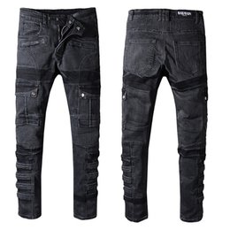 Chinese  Mens jeans balmain Motorcycle biker jeans rock revival skinny Slim ripped Popular Cool beggar Mottled hole true pants men designer jenas manufacturers