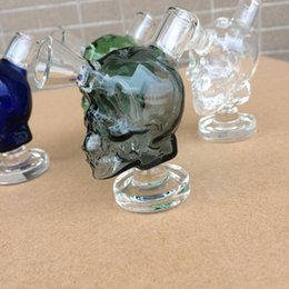 Lighted Bong NZ - Travel mini skull bong Martian Glass Blunt Bongs Dab rigs clear Green Blue Light Black color available hand pipes free shipping