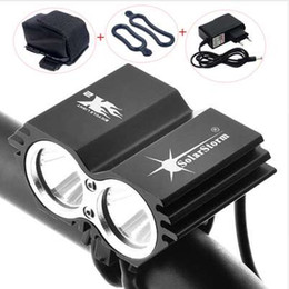 solarstorm light NZ - SolarStorm Cycling Bicycle Bike Front Light 5000 Lumen 2x XM-L U2 LED Flashlights Lamps For Bike + Battery Pack + Charger