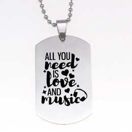 wholesale dog lover gifts NZ - wholesale 12pcs lot All you need is love and music Charm Pendant necklace Dog Tag Stainless Steel Necklace lover jewelry gift
