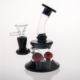 Recycler Oil Rigs Cheap NZ - Joint 14.4m Black Glass Bongs Matching Red Mushroom Hand Blown Beaker Oil Rigs Water Pipes Recycler Heady Cheap Smoking Water Bong 15cm